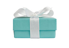 Side view of isolated turquoise gift box on white Royalty Free Stock Photography