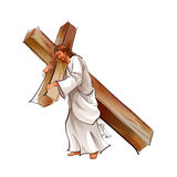 Side view of Jesus Christ holding cross. There is Jesus Christ holding cross and walking Royalty Free Stock Photo