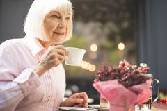 Smiling old lady drinking hot drink outside. Side view of joyful senior woman sitting at table and holding cup of tea in hand.  She is enjoying evening outdoors Stock Image