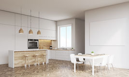 Side view of kitchen with oven and window Royalty Free Stock Photo