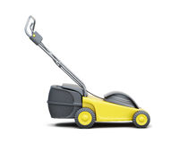 Side view of a lawn mower isolated on a white background.  Stock Image