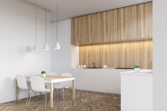 Side view of a light wood kitchen interior Royalty Free Stock Photography