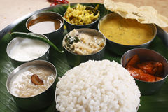 Side View of Malabar Thali Royalty Free Stock Photography