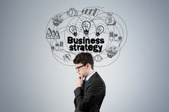 Side view of man and business strategy Stock Photo