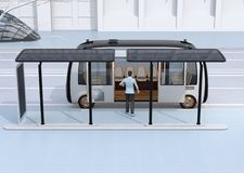 Side view of a man get on a autonomous bus. The bus stop equipped with solar panels. 3D rendering image vector illustration