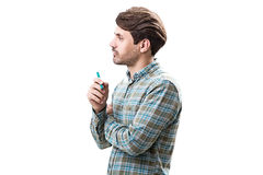 Side view of man with marker Royalty Free Stock Photo