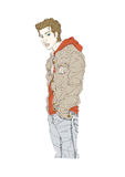 Side view of man vector illustration