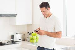 Side view of a man text messaging in kitchen Royalty Free Stock Photos
