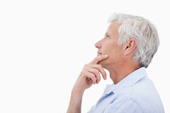 Side view of a man thinking Stock Photo