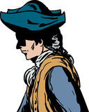 Side view of man in tricorn hat. Side view of 18th century man in tricorn hat over white Royalty Free Illustration