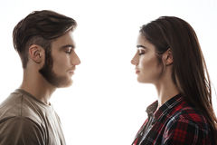 Side view. Man and woman facing each other, eyes closed. Stock Photos