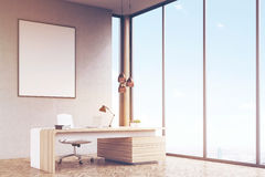 Side view of manager office, framed poster, toned Royalty Free Stock Photo