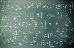 Side view of math formulas and calculation written over chalkboard. selective focus. Royalty Free Stock Photo