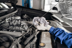 Side view of mechanic checking motor oil in a car with open hood Royalty Free Stock Photography