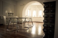 Side view on meeting room with wooden floor Royalty Free Stock Photo