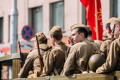 Side View Men In Disguise Soviet Soldiers WW2 Time. Victory Day Stock Images