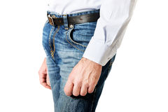 Side view of a men in jeans trousers Royalty Free Stock Images