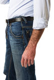Side view of a men in jeans trousers Stock Photo