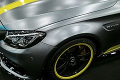 Side view of a Mercedes Benz C 63s AMG coupe 2017. Front Headlight .Car exterior details. Royalty Free Stock Photo