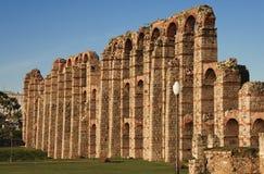 Side view of Merida aqueduct. View of Roman Aqueduct Los Milagros, Merida, Spain. South side Stock Photos