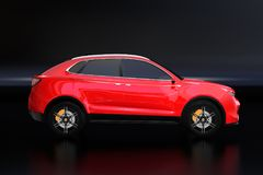 Side view of metallic red Electric SUV concept car isolated on black background. 3D rendering image Royalty Free Stock Images