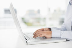 Side view mid section of a businesswoman using laptop Royalty Free Stock Images