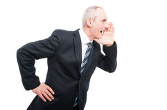 Side view of middle aged elegant man screaming Royalty Free Stock Photography