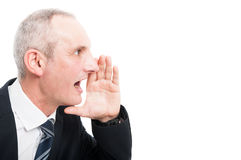 Side view of middle aged elegant man screaming Stock Photos