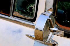 Side View Mirror of Ford Country Sedan Station Wagon. Detail view of side view mirror of Ford Country Sedan Station Wagon Stock Photo