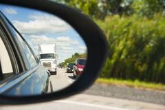 Side view mirror reflection Stock Photo