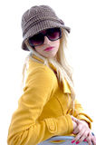 Side view of model with cap and sunglasses Royalty Free Stock Photography