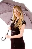 Side view of model carrying umbrella Royalty Free Stock Photography