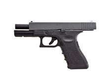 Side view of modern automatic handgun, unloaded position Stock Photo