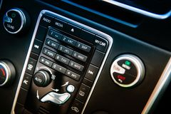Side view of modern luxury car dashboard royalty free stock images