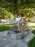 Side view Cannon Modesto Memorial World War II. This incredible cannon sits right in front of the County Clerk office in Modesto California royalty free stock photography