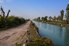 Side view of Mohajir Branch Canal – northern Punjab Pakistan. A peaceful and unique shot taken from bridge during beautiful summer Stock Image