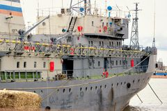 Side view of moored big ship in Russia Royalty Free Stock Photo