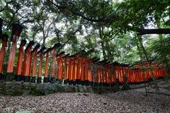 Side view of the mountain torii path. Fushimi Inari Taisha shrine. Kyoto. Japan. Fushimi Inari Taisha is the head shrine of the god Inari, located in Fushimi Stock Photos