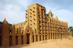 Side view of a mud mosque in a Dogon village Royalty Free Stock Images
