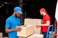 Side view of multicultural delivery men in red and blue uniform with cardboard. Boxes royalty free stock photography