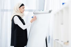side view of muslim businesswoman royalty free stock photo