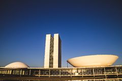 Side view from the national congress in brasília stock photos