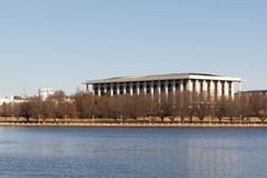 Canberra, Australia - July 13th 2018: National Library of Australia from Across Lake Burley Griffin stock image