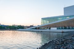 Side view of the National Oslo Opera House on May 20, 2014 in Oslo, Norway Stock Photos