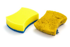Side view new & old double-side cleaning sponge on white background Stock Photography