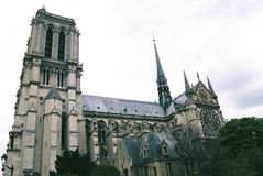 The side view of Notre Dame Cathedral Stock Image