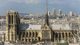 Side view of Notre Dame Cathedral. The Cathedral of Our Lady is a Catholic church worship, episcopal headquarters in Paris (France). Gothic style. Its Stock Image
