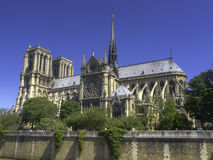 Side view of Notre Dame cathedral, Paris Stock Photos