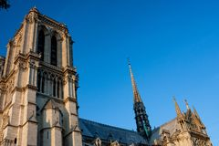 Notre-Dame Cathedral Spire and Roof stock photography