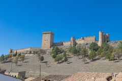 Side View Of Castle Of Penaranda De Duero Stock Photos
